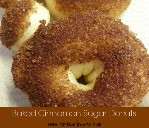 Baked Cinnamon Sugar Donuts |Mini Van Dreams