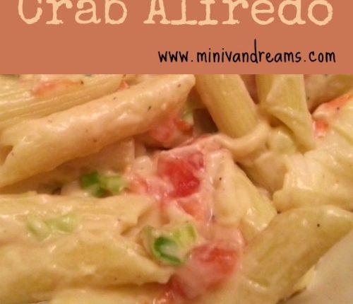 Crab Alfredo via Mini Van Dreams #recipes #easyrecipes