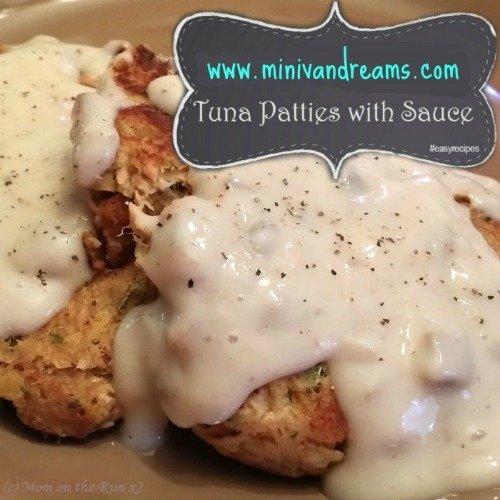 Tuna Patties with Mushroom Sauce via Mini Van Dreams