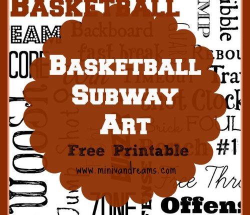 Basketball Subway Art Free Printable via Mini Van Dreams #subwayart #basketball #freeprintable #printables