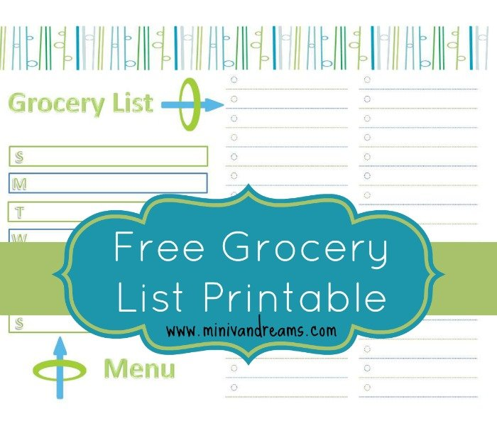 Free Grocery List and Menu Planner via Mini Van Dreams