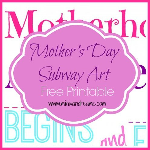 Mother's Day Subway Art Free Printable via Mini Van Dreams