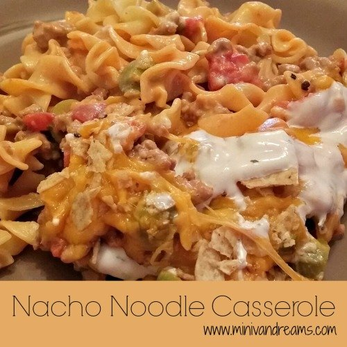 Nacho Noodle Casserole via Mini Van Dreams #easyrecipes #recipes
