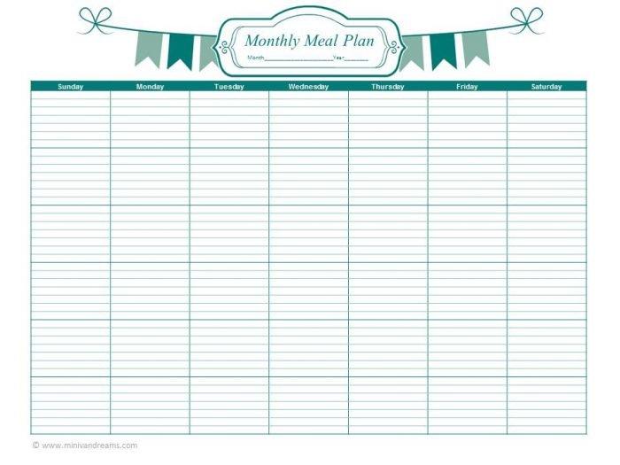 Meal Planning Binder Series: Monthly Meal Planner via Mini Van Dreams #mealplanning #food #printables