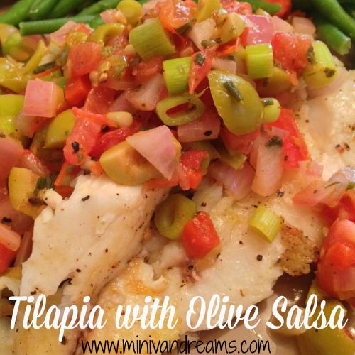 Tilapia with Olive Salsa via Mini Van Dreams #ticklemytastebuds #recipesforfish #cleaneating #easyrecipes