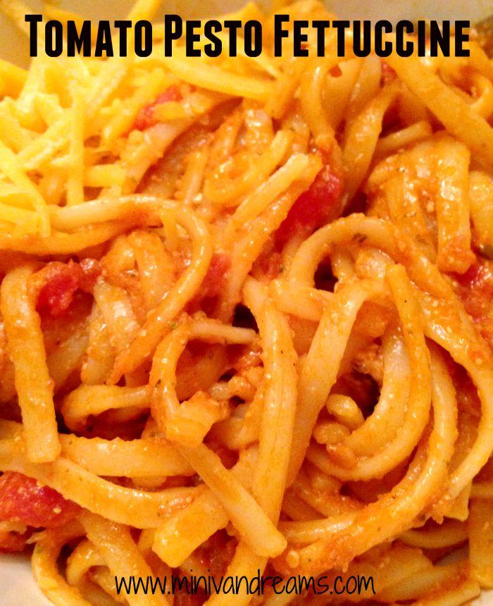 Tomato Pesto Fettuccine | Mini Van Dreams