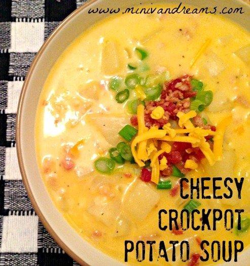 Cheesy Crockpot Potato Soup | Mini Van Dreams