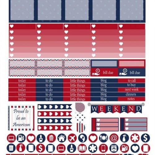 Free Printable Planner Stickers - American Pride | Mini Van Dreams