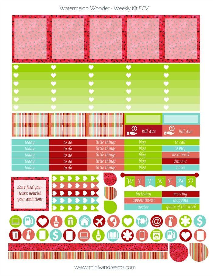 Free Printable Planner Stickers | Watermelon Wonder