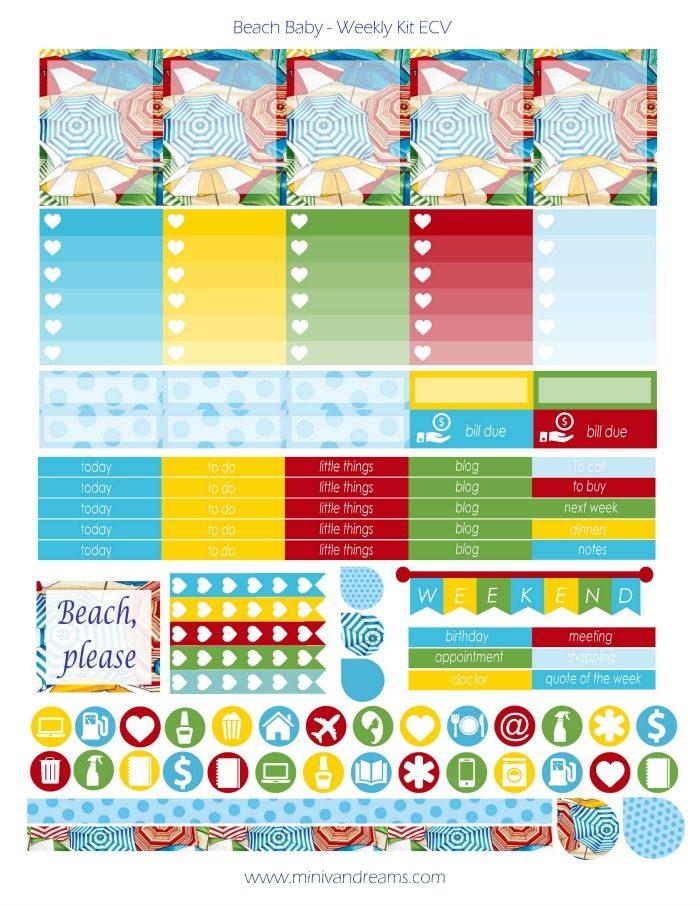 Free Printable Planner Stickers - Beach Baby | Mini Van Dreams