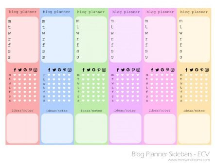 Free Printable Planner Stickers - Blog Planner Sidebars | Mini Van Dreams