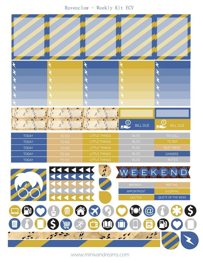Free Printable Planner Stickers - Ravenclaw | Mini Van Dreams