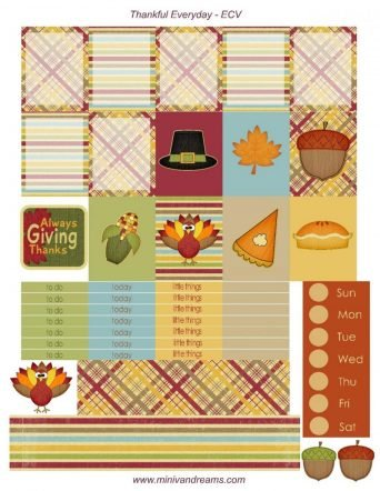 Free Printable Planner Stickers - Thankful Everyday | Mini Van Dreams