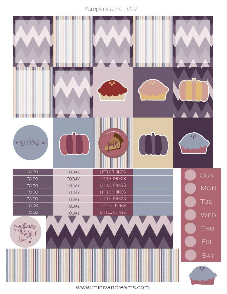 Free Printable Planner Stickers - Pumpkins & Pie   Mini Van Dreams