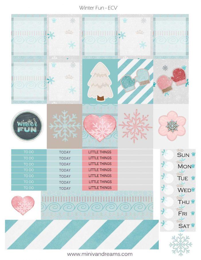 Free Printable Planner Stickers: Winter Fun | Mini Van Dreams