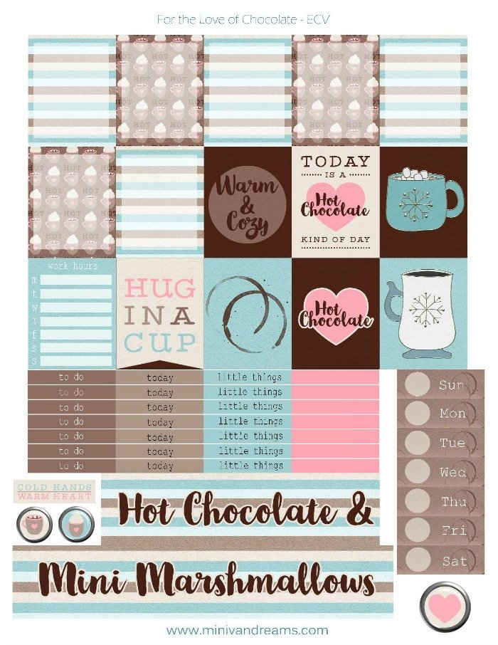 Free Planner Stickers: For the Love of Chocolate | Mini ...