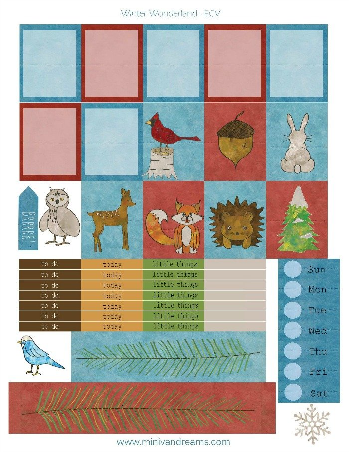 Free Printable Planner Stickers: Winter Woodland | Mini Van Dreams