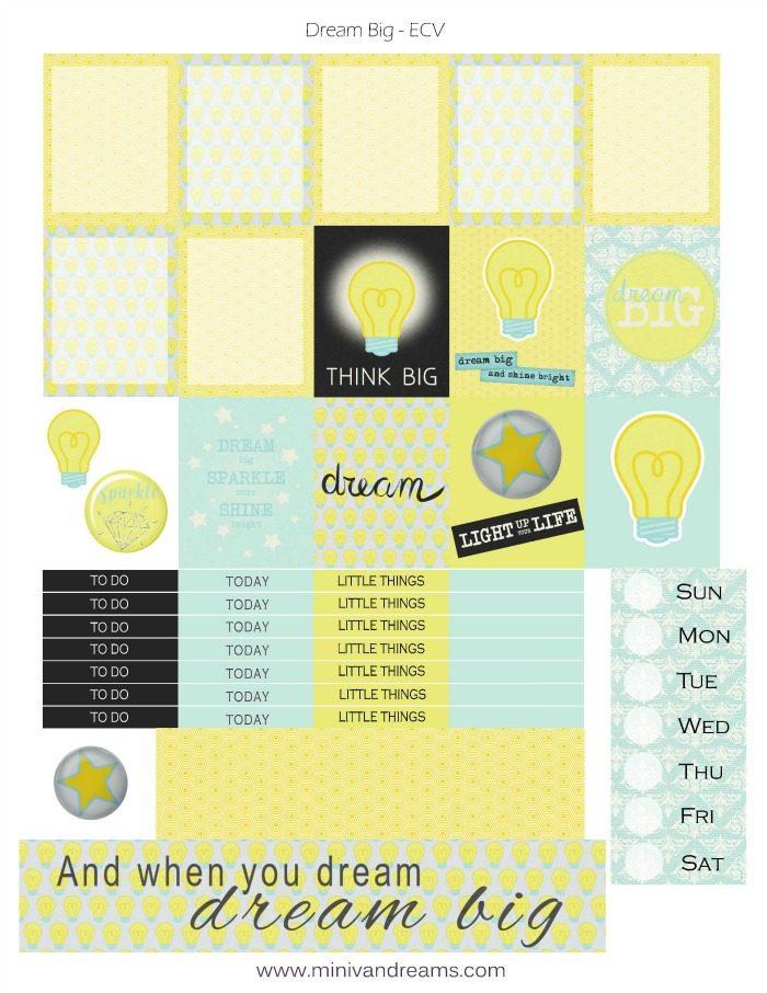 Free Printable Planner Stickers: Dream Big | Mini Van Dreams