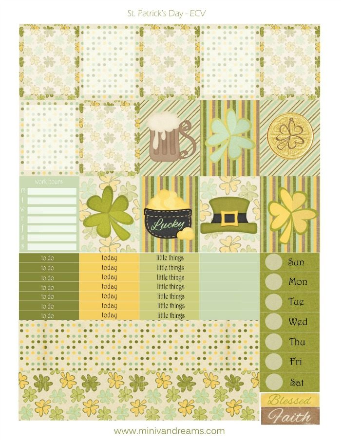 Free Printable Planner Stickers: St. Patrick's Day | Mini Van Dreams