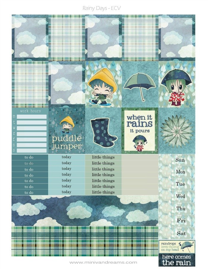 Free Printable Planner Stickers: Rainy Day | Mini Van Dreams