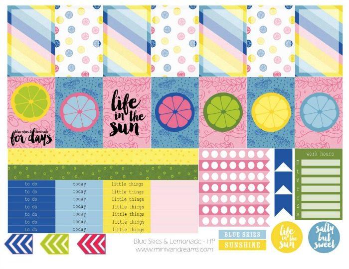Free Printable Planner Stickers: Blue Skies & Lemonade | Mini Van Dreams