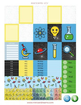 Free Printable Planner Stickers: Mad Scientist (ECV & HP) | Mini Van Dreams