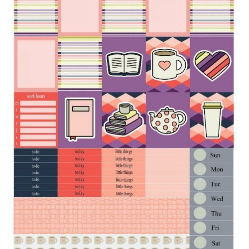 Free Printable Planner Stickers: Mug and a Book | Mini Van Dreams