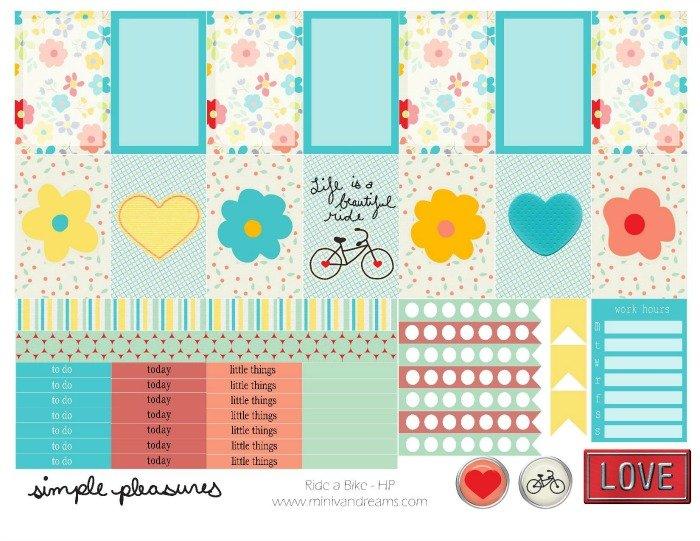 Free Printable Planner Stickers: Ride a Bike | Mini Van Dreams