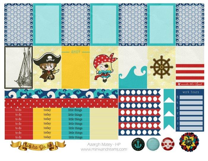Free Planner Stickers: Aargh Matey! | Mini Van Dreams