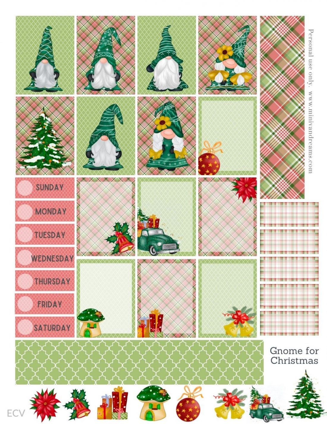 Gnome for Christmas Free Printable Planner Stickers | Mini Van Dreams