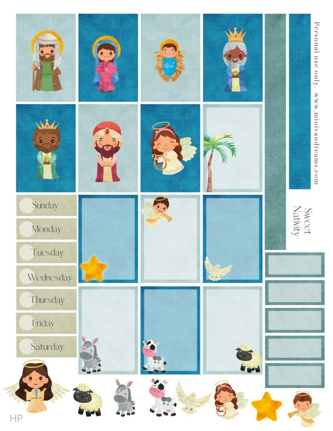 Free Printable  Sweet Nativity Planner Stickers | Mini Van Dreams