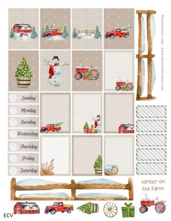 Winter on the Farm Free Planner Sticker Printable
