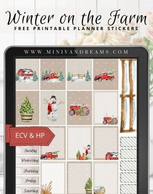 Winter on the Farm Free Printable Planner Stickers | Mini Van Dreams