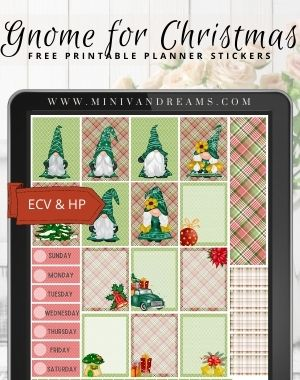 Gnome for Christmas Free Printable Planner Stickers | Mini Van Dreams